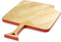Poppadum Art Omnomnom Chopping/Serving Platter - Square Wood Cutting Board(Clear, Red Pack of 1)