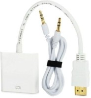 Microware To Vga With Sound 0.254 m HDMI Cable(Compatible with Mobile, Laptop, Tablet, Mp3, Gaming Device, White, Pack of: 2)