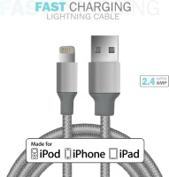 Czar Silicon Nylon MFI cable 1.2 mtr (Grey) Lightning Cable(Grey)