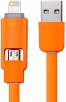 Heartly Universal 2 In 1 Tangle Free USB Lightning Data Cable Connector Fast Charging Transmission Lightning Cable(Mobile Orange)