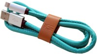 Top Q Original Leather 2.4A FAST SPEED USB & Charger Data Sync Cable Lightning Cable(Sky Blue)