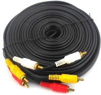 PAC 10 Meter 3 10 m RCA Audio Video Cable(Compatible with laptop, tv, set top box, computer, Black, One Cable)