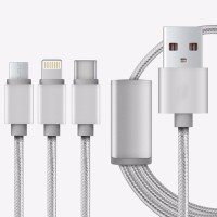 SSTC 3 in 1 For Micro USB, Type C & Lightning Sync & Charge Cable(Grey)
