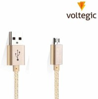 Voltegic � Nylon Gold Braided Micro USB Cord Coiled Charger Wire Super Fast Speed 1 Meter Sync & Charge Cable(Gold)