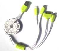 Orion LED Multi Pin Charger Cable for Mini USB / Micro USB / Lightning for i5 / iPhone 4 connector USB Cable(White)