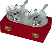 Shreeng Silver Plated Floral Shaped Bowl With Spoon And Tray Set Of 5 Pcs. Brass Decorative Platter(Silver, Pack of 5)
