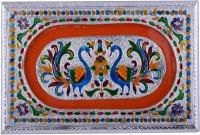 Shreeng Shreeng Handicraft 12x8 Silver Meena Dry Fruit/ Multipurpose Box (20cmX30cmX7cm) Wood Decorative Platter(Multicolor)