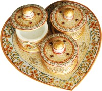 Shreeng Heart shaped Utility Tray set Stoneware Decorative Platter(Multicolor, Pack of 4)