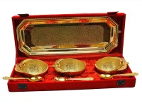 Shreeng Gold Plated Mango Bowl,Tray With Spoon Set Of 7 Pcs. Brass Decorative Platter(Gold, Pack of 7)