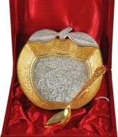 Shreeng Apple Shape Silver And Gold Plated Bowl With Spoon Brass Decorative Platter(Gold, Silver, Pack of 2)