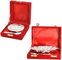 Creative Handicraft Flower And Apple Shape Mouth Freshner Bowls Combo Brass Decorative Platter(Silver, Pack of 6)
