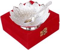 Folkshopz Brass Decorative Platter(Silver, Pack of 2)