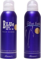Rasasi blue for men and blue lady Deodorant Spray - For Men(400 ml, Pack of 2)