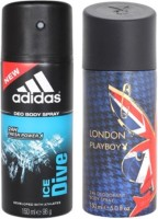 Adidas and Playboy Ice Dive and London Body Spray  -  For Men(300 ml, Pack of 2)