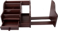 XINGLI 5035 7 Compartments Wood Desk Organizer(Brown)