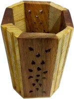 CraftEra 1 Compartments Wooden Pen Stand(Brown)