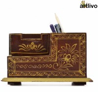 Artlivo Desk Organizer 3 Compartments Wood Desk Organizer(Brown)
