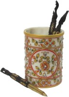 eCraftIndia Decorative Floral - Embossed with Colorful Stones 1 Compartments Makrana Marble Pen Stand(Multicolor)