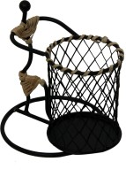 Aesthetic Decors Earth 1 Compartments Iron, Cane Pen Stand(Black)