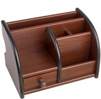7Trees 6 Compartments Wooden Desk Organizer(Brown)