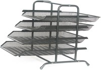 CHROME 4 Compartments Metal Mesh Document Tray(Black)