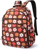 T-Bags Mommy and Baby Flower Backpack Diaper Bag(Red, Brown)