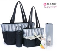 Baby Grow Colorland Jane Tote Baby Mum Diaper Bag 5pcs Set(Brown/Blue Strips)