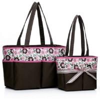 Baby Grow Colorland Amber Tote Changing prunus Mum Flower Diaper Bag(Brown)