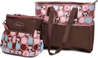 Babyoodles Nylon Tote Diaper Bag(Pink & Brown)