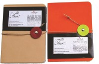 Tiara Diaries Leather Lockable A6 Notebook Ruled 110 Pages(Multicolor, Pack of 2)