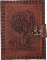 Craft Play Regular Notebook(Tree Emboss Leather With Lock, Tan)