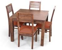 View Urban Ladder Arabia Square - Zella Solid Wood 4 Seater Dining Set(Finish Color - Teak) Furniture