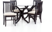 Furnicity Engineered Wood 4 Seater Dining Set(Finish Color - Brown)