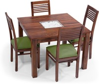 View Urban Ladder Brighton Square - Zella Solid Wood 4 Seater Dining Set(Finish Color - Teak) Furniture