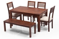View Urban Ladder Arabia - Zella - Bench Solid Wood 6 Seater Dining Set(Finish Color - Teak) Furniture