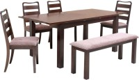 @home by Nilkamal Solid Wood 6 Seater Dining Set(Finish Color - Walnut)