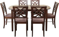 View HomeTown Oliver Solid Wood 6 Seater Dining Set(Finish Color - Brown) Furniture