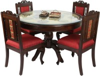 ExclusiveLane Solid Wood 4 Seater Dining Set(Finish Color - Walnut Brown)