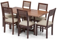 View Urban Ladder Danton 3 - to - 6 Extendable - Zella Solid Wood 6 Seater Dining Set(Finish Color - Teak) Furniture