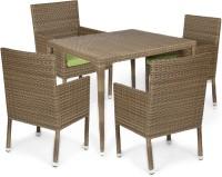 Svelte Metal 4 Seater Dining Set(Finish Color - Brown)