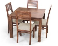 View Urban Ladder Arabia Square - Zella Solid Wood 4 Seater Dining Set(Finish Color - Teak) Furniture