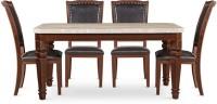 HomeTown Bruce Stone 6 Seater Dining Set(Finish Color - Beige/Black)