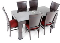 Furnicity Engineered Wood 6 Seater Dining Set(Finish Color - Brown)