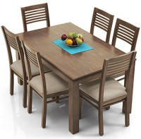 View Urban Ladder Arabia - Zella Solid Wood 6 Seater Dining Set(Finish Color - Teak) Furniture