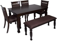 View Evok Orli Solid Wood 6 Seater Dining Set(Finish Color - Walnut) Furniture