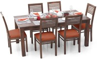 View Urban Ladder Arabia XL - Zella Solid Wood 6 Seater Dining Set(Finish Color - Teak) Furniture