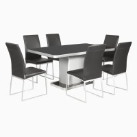 Godrej Interio Neo & Novice Dining Set Glass 6 Seater Dining Set(Finish Color - Black::Silver)