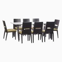 Godrej Interio Crescent Dining Set Glass 8 Seater Dining Set(Finish Color - Dark Chocolate)