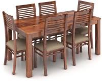View Urban Ladder Arabia XL Storage - Zella Solid Wood 6 Seater Dining Set(Finish Color - Teak) Furniture