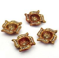 Aapno Rajasthan Swastika With Gold Paint and Studded With Kundans Terracotta Table Diya Set(Height:
